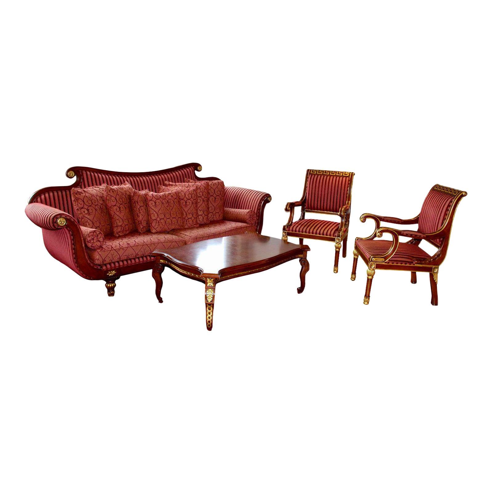 Turkish Custom Hand Crafted Living Room Set - 4 Pc. | Chairish