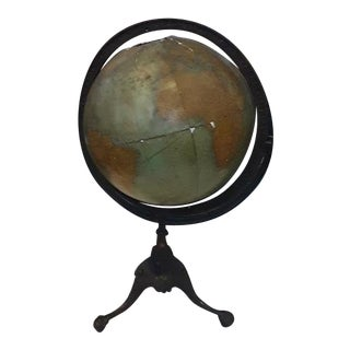 Antique Rand McNally Terrestrial Globe on Metal Stand For Sale
