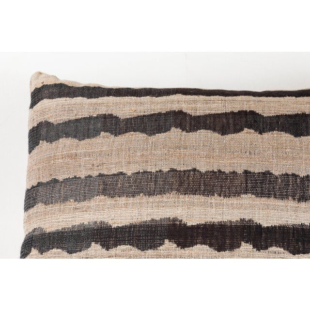 Contemporary Indian Handwoven Pillow Ocean Stripe Charcoal For Sale - Image 3 of 5