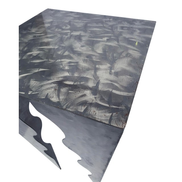 Abstract 20th Century Abstract Wave Design Tall Metal Side Table For Sale - Image 3 of 4