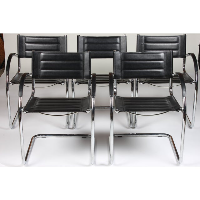 Mid Century Mod Chrome Chairs - Set of 5 - Image 3 of 4