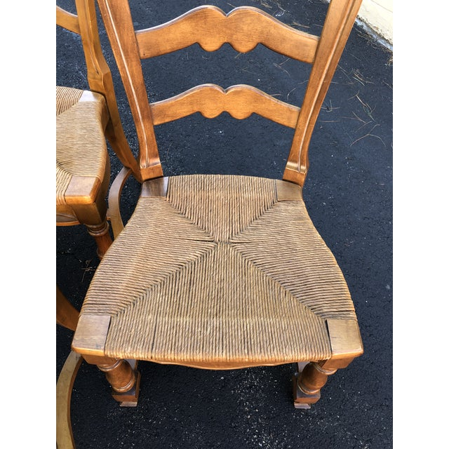 1970s 1970s Vintage Ethan Allen French Country Ladderback Chairs- Set of 6 For Sale - Image 5 of 10