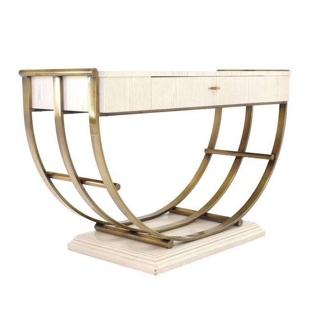 Mid 20th Century White Pickled Oak Finish Brass U Shape Base Console Table For Sale - Image 5 of 10