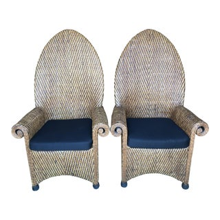 Boho Chic High Back Wicker Chairs-Pair For Sale