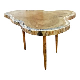Solid Burl Slab Side Table For Sale