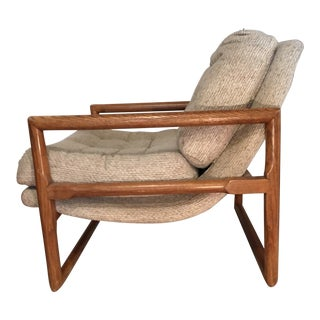 Milo Baughman Attributed Oak Framed Scoop Lounge Chair