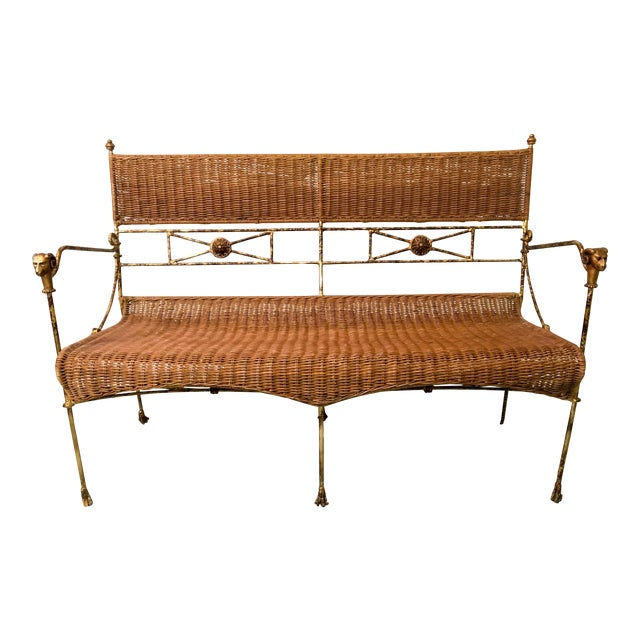 Neo-Classical Style Wicker Settee For Sale