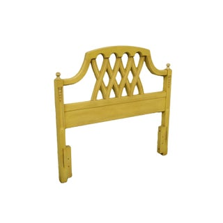20th Century French Provincial Stanley Furniture Cream/Yellow Painted Twin Size Headboard Preview