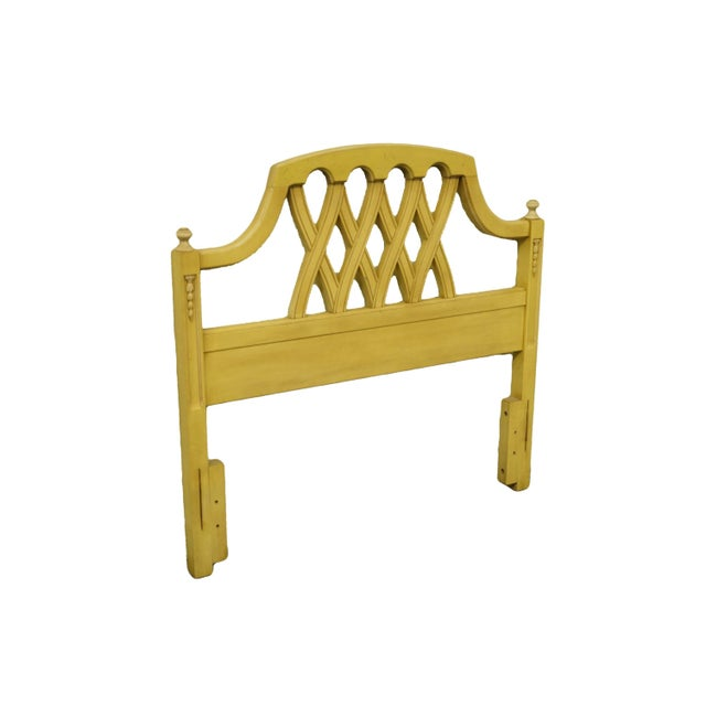 Stanley Furniture French Provincial cream/yellow painted twin size headboard. We specialize in high end used furniture...