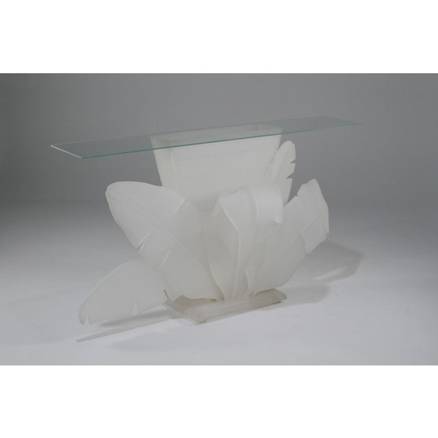 Mid-Century Modern 1970s Mid-Century Modern Luminous Electrified Frosted Lucite Palm Motife Console Table For Sale - Image 3 of 13