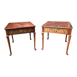 A Pair of Baker Furniture Walnut Side Tables