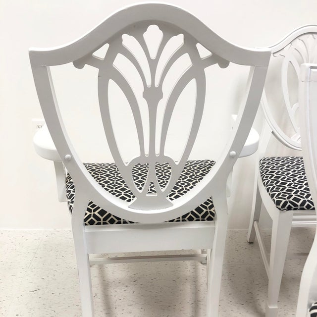 White Bernhardt Chippendale Style White Lacquered Dining Chairs - Set of 6 For Sale - Image 8 of 9