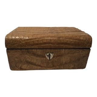 Chic Brown Crocodile Jewelry Box