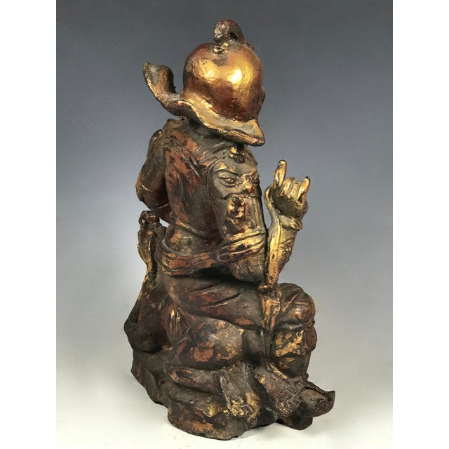 Chinese Art Carved Bronze Warrior For Sale In New York - Image 6 of 11