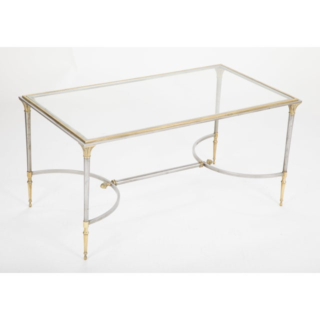 Maison Charles Steel & Bronze Glass Top Coffee Table For Sale - Image 9 of 13