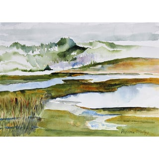 """""""Marsh"""" West Marin, CA Watercolor For Sale"""