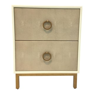 Modern Faux Taupe Shagreen Nightstand For Sale