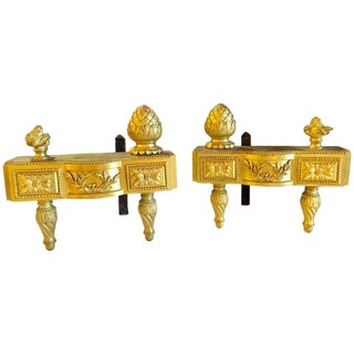 19th Century Fine Pair of Bronze Dore Louis XVI Style Andirons For Sale