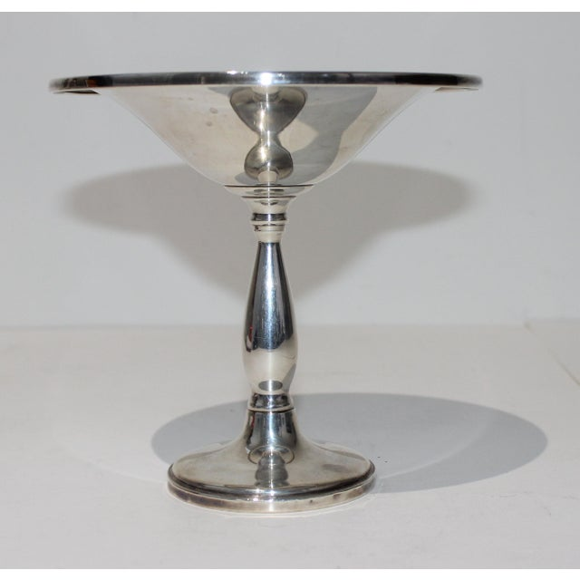 Stylish modern sterling silver compote - note the design where the top edge is turned down - from a Palm Beach estate....