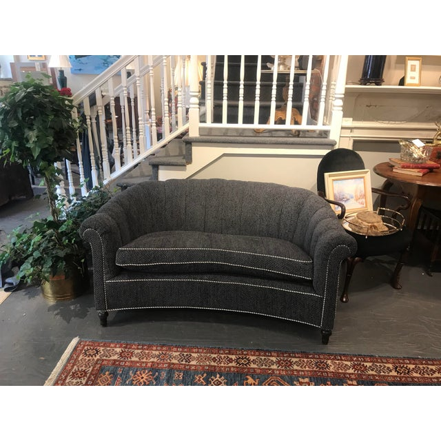 This is an antique settee. It has mahogany legs and new upholstery. It is in great condition and extremely comfortable. It...