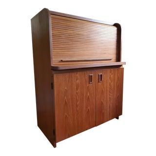 Mid Century Modern Teak Secretary Roll Top Magic Box Desk For Sale