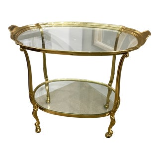 French Two-Tier All Brass Barcart Bar Tea Cart For Sale