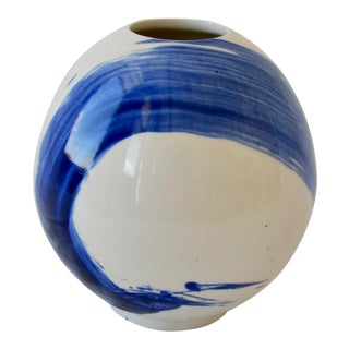 Contemporary Ceramic Moon Vessel With Cobalt Calligraphy For Sale
