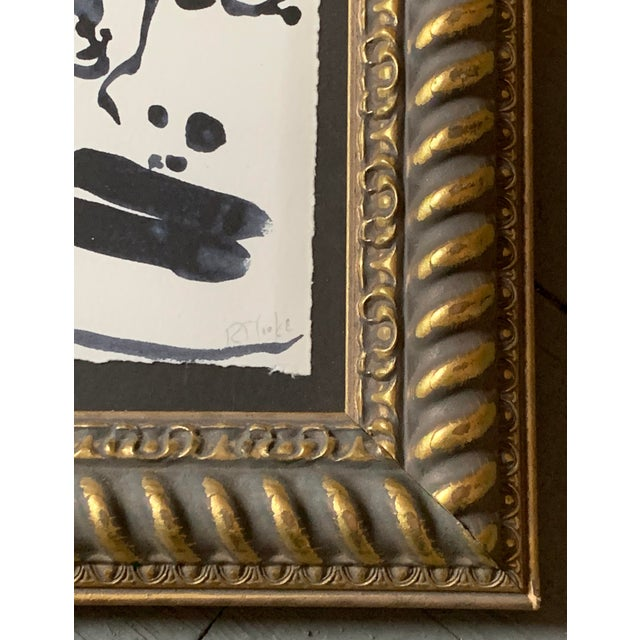 "Original Contemporary Abstract Face Painting, Signed by Robert Cooke 4""x5"" Overall size in vintage frame: 8.5 x 10.5"" Done..."