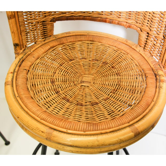 Boho Chic Vintage Swivel Woven Rattan Bar Stool, 1960s - a Pair For Sale - Image 3 of 13