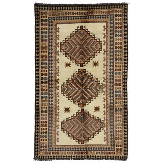 20th Century Persian Shiraz Tribal Rug - 4′4″ × 7′ For Sale
