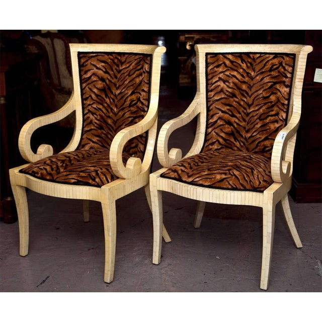 Enrique Garcel Off White Bone Arm Chairs, Signed-Pair Of. - Image 2 of 10