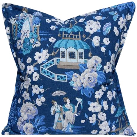 Blue & White Chinoiserie Pillow Cover For Sale