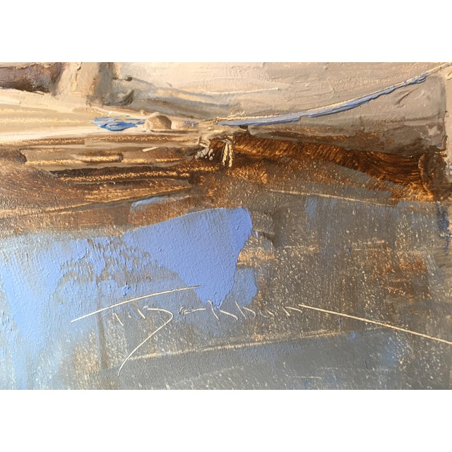 "Trish Beckham Beckham Oil Painting ""Sloop"", Contemporary Blue Seascape For Sale - Image 4 of 6"