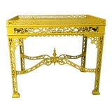 Image of Antique Yellow Chinese Chippendale Mahogany Tea Table For Sale