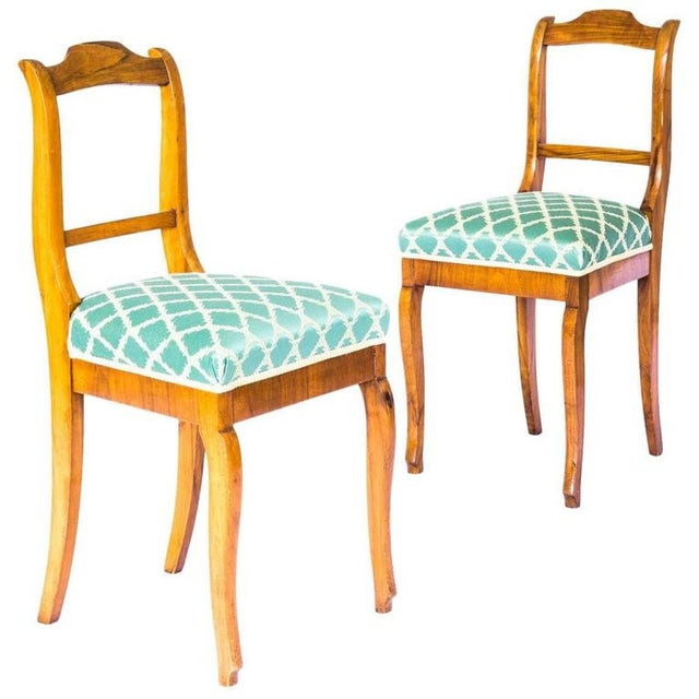 For your consideration , a good pair of French 19th century side chairs in walnut, c. 1880. The upholstered sprung seats,...