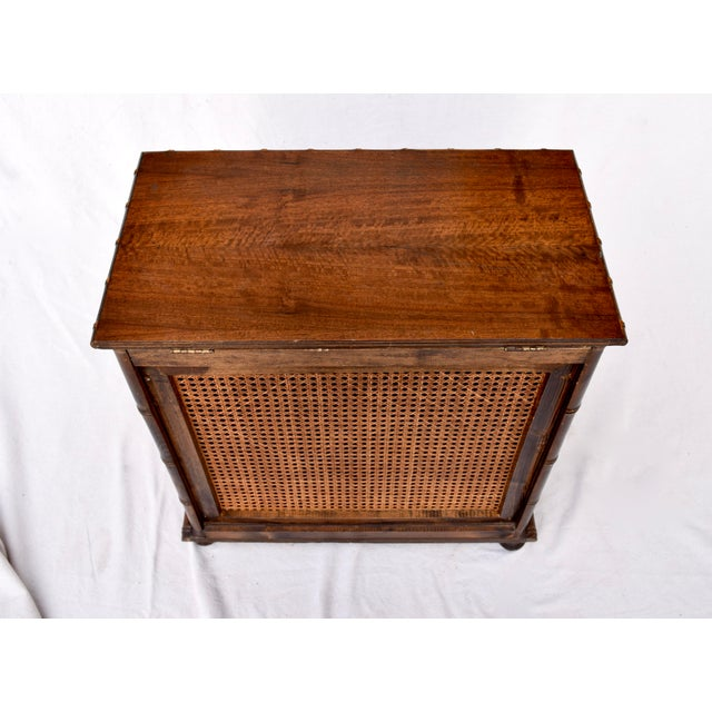 Chinese Chippendale Caned Faux Bamboo Hamper For Sale - Image 9 of 11