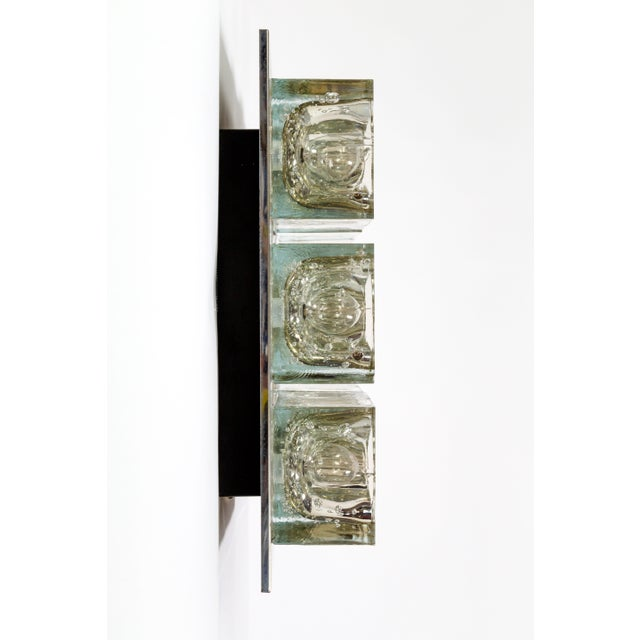 Metal Lightolier Glass Blocks 9-Light Flush Mount For Sale - Image 7 of 13