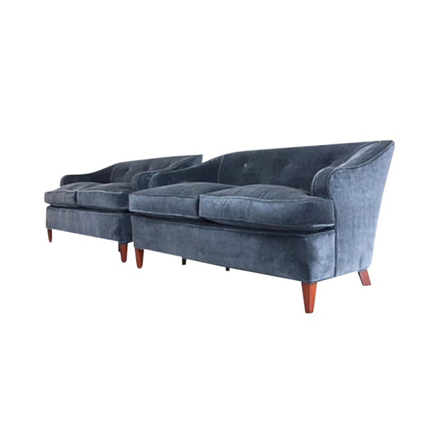 1930s Tufted Art Deco Settees Reupholstered in Brushed Velvet - a Pair For Sale