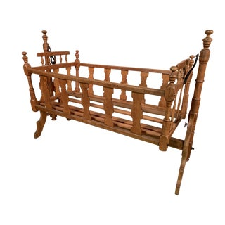 19th Century Victorian Cherry and Maple Child's Cradle For Sale