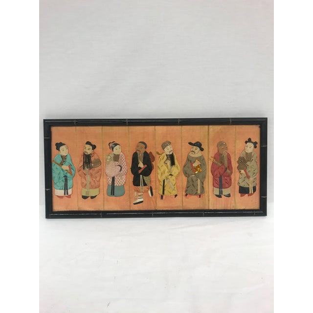 Framed late 19th Century Chinese costume figures in traditional silk finery to add exotic flair to a wall. Exceptional...
