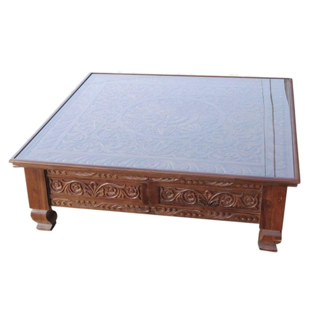 Lotus Carved Glass Top Coffee Table - Image 1 of 5