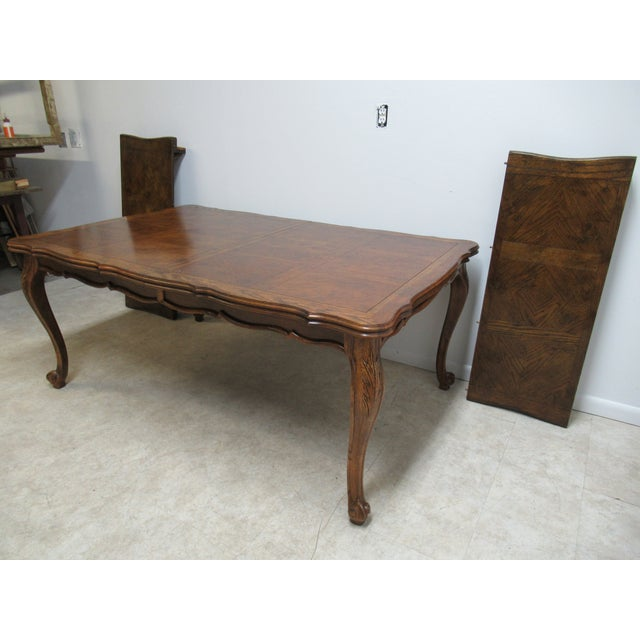 French Country Vintage Century Furniture Country French Oak DiningTable For Sale - Image 3 of 13