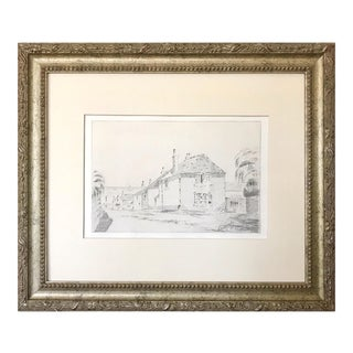 Antique English Graphite Cottage Drawing Portscutho Cornwall 1908 For Sale