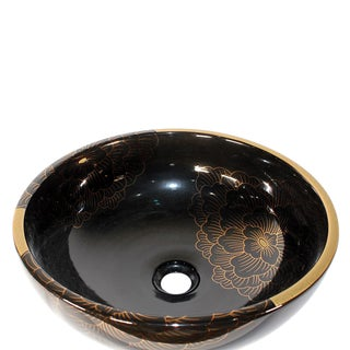 Pasargad DC Modern Black & Gold Motif Sink Bowl For Sale