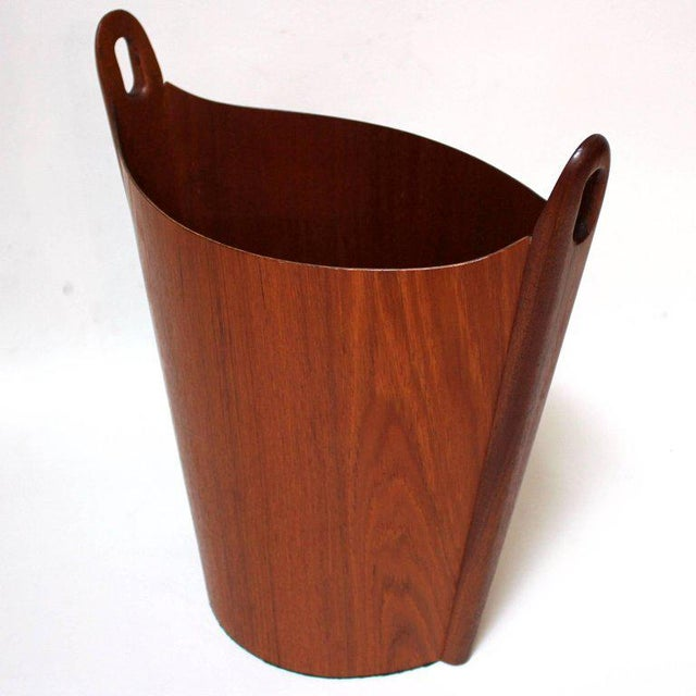 1960s Einar Barnes for P. S. Heggen Teak Wastepaper Basket - Image 4 of 11