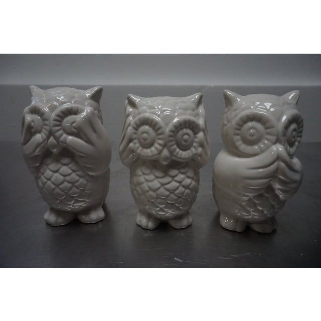 Small White Ceramic Owls- Set of 3 - Image 2 of 8