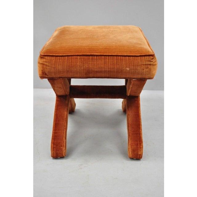 Fabric Vintage Mid Century Orange X-Base Frame Upholstered Hollywood Regency Stools- A Pair For Sale - Image 7 of 10