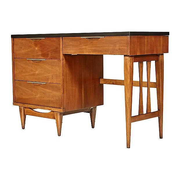 1960s Walnut & Black Top Desk - Image 5 of 5