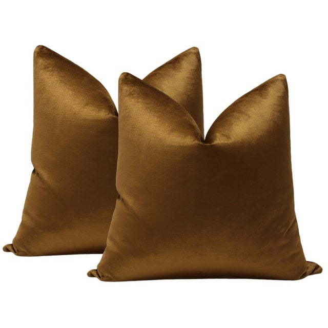 """2010s 22"""" Cognac Luxe Velvet Pillows - a Pair For Sale - Image 5 of 5"""