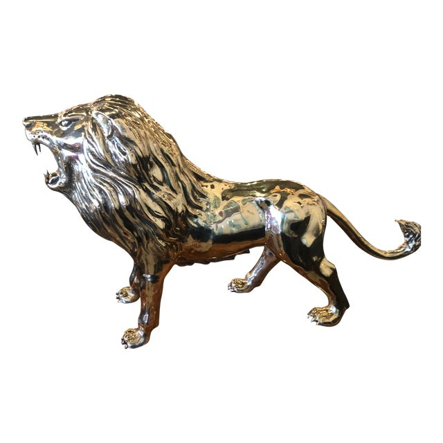 Vintage Polished Brass Monumental Roaring Lion Animal Statue For Sale